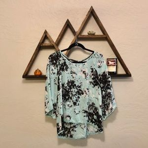 Flowy Blue & Black Blouse